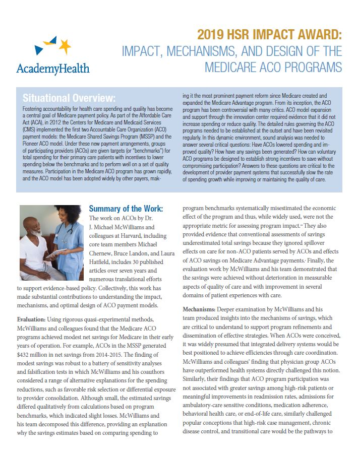 2019 HSR Impact Award: Impact, Mechanisms, and Design of the Medicare ACO Programs