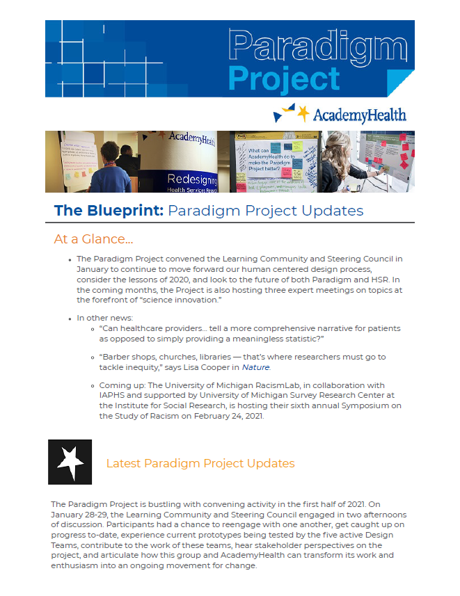 Paradigm Project February 2021 Newsletter Cover