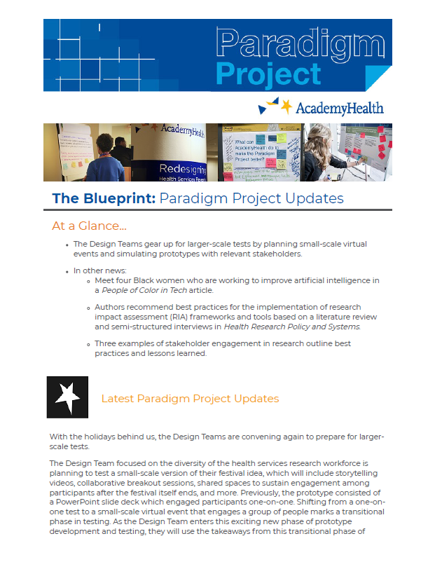 Paradigm Project January 2021 Newsletter Cover
