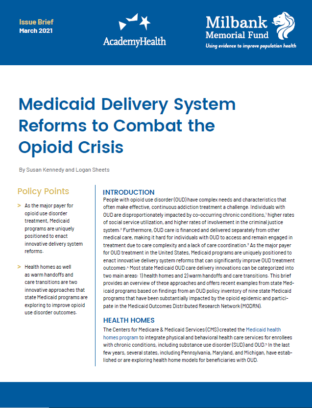 Medicaid Delivery System Reforms to Combat the Opioid Crisis Cover
