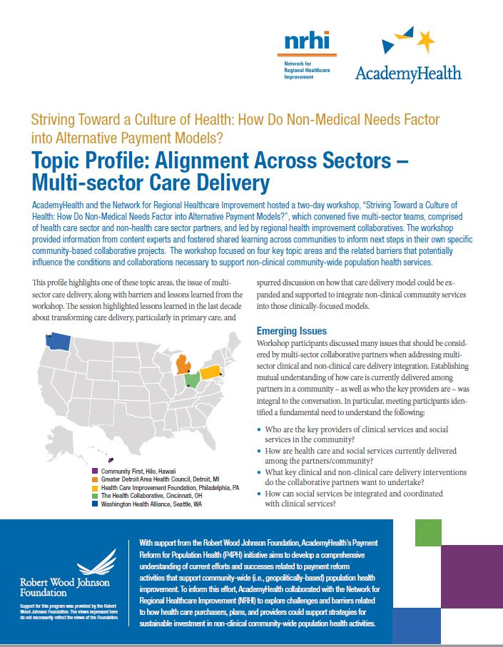 Topic Profile: Alignment Across Sectors – Multi-sector Care Delivery