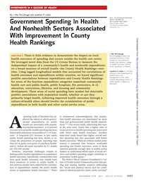 Government Spending In Health And Nonhealth Sectors Associated With Improvement In County Health Rankings