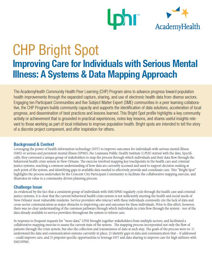 Improving Care for Individuals with Serious Mental Illness - A Systems & Data Mapping Approach