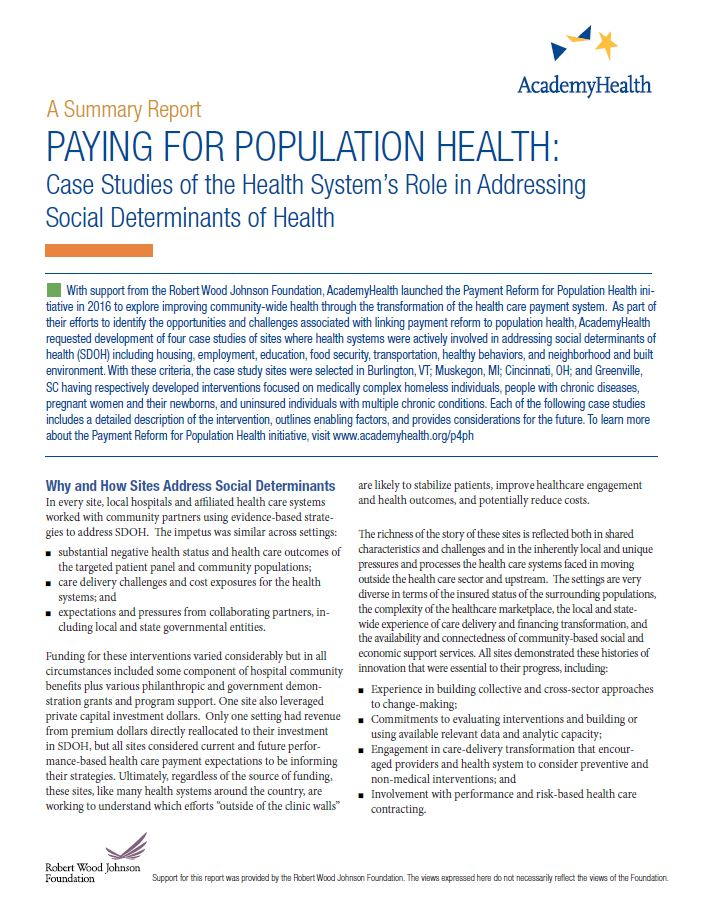 Paying for Population Health: A Summary Report of Four Case Studies