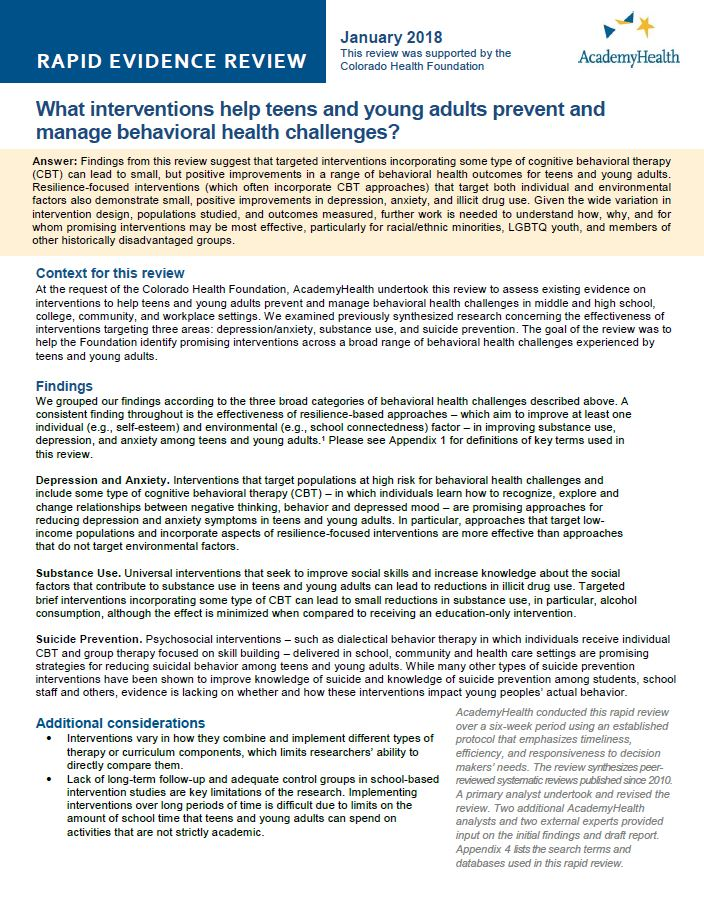 Rapid Evidence Review Behavioral Health