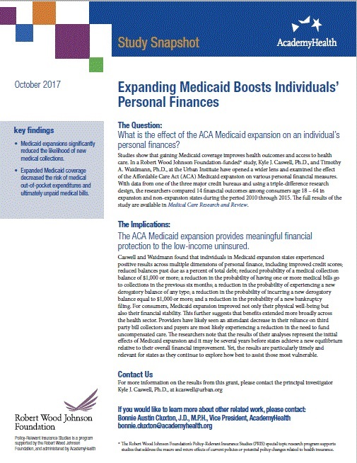 Study Snapshot: Expanding Medicaid Boosts Individuals' Personal Finances