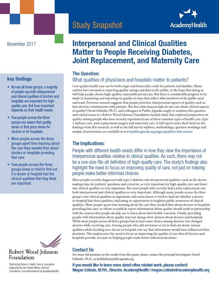 Interpersonal and Clinical Qualities Matter to People Receiving Diabetes, Joint Replacement, and Maternity Care
