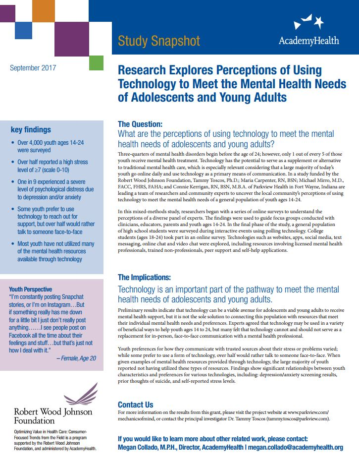 Study Snapshot: Research Explores Perceptions of Using Technology to Meet the Mental Health Needs of Adolescents and Young Adult