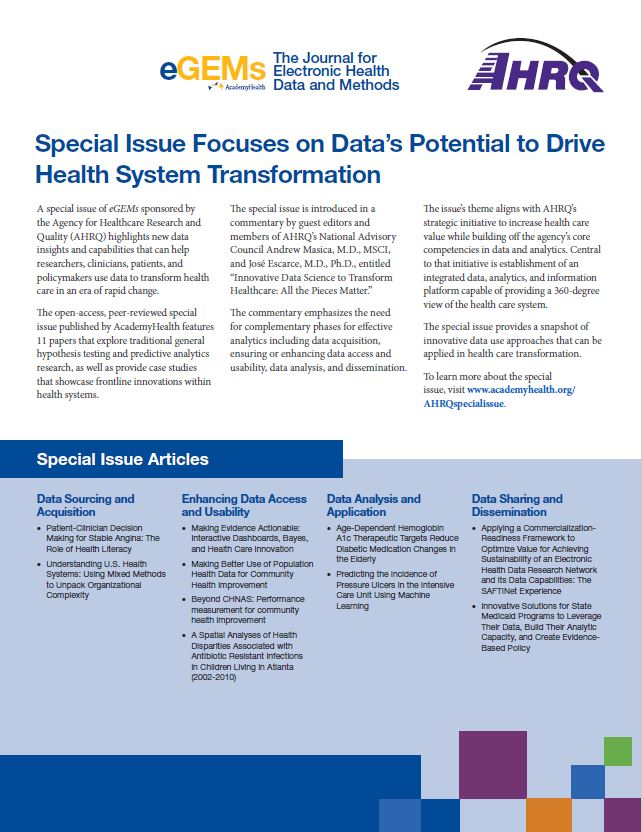 Special Issue Focuses on Data's Potential to Drive Health System Transformation