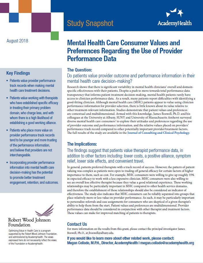 Mental Health Care Consumer Values and Preferences Regarding the Use of Provider Performance Data