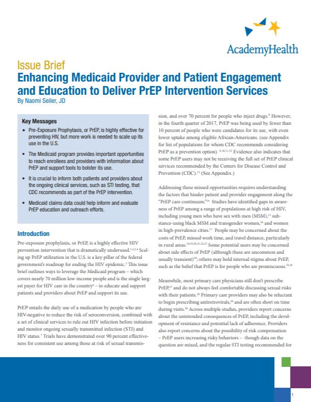 EngagementMedicaidPrEP_IssueBrief_Cover