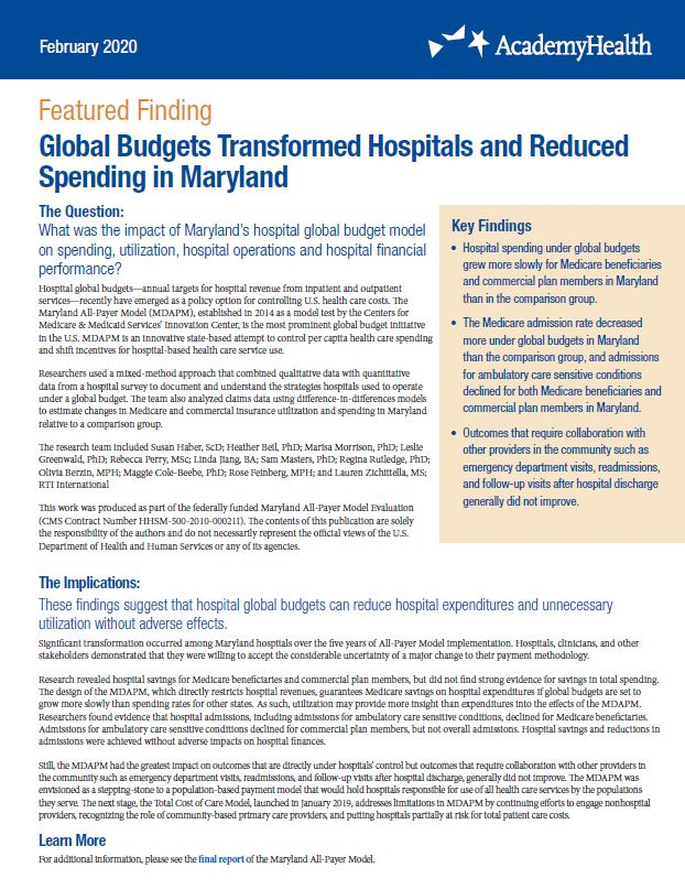 Global Budgets Transformed Hospitals and Reduced Spending in Maryland