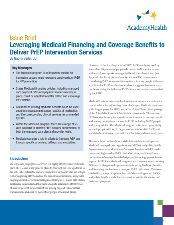 FinancingMedicaidPrEP_IssueBrief_Cover