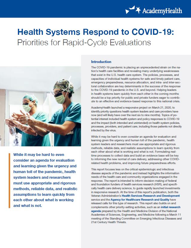 Health Systems Respond to COVID-19: Priorities for Rapid-Cycle Evaluations