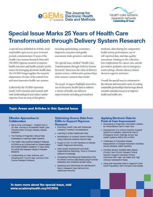 Special Issue Marks 25 Years of Health Care Transformation through Delivery System Research