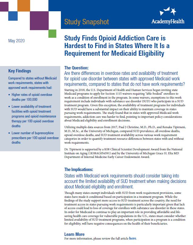 OUD Treatment in States with Approved Medicaid Work Requirements