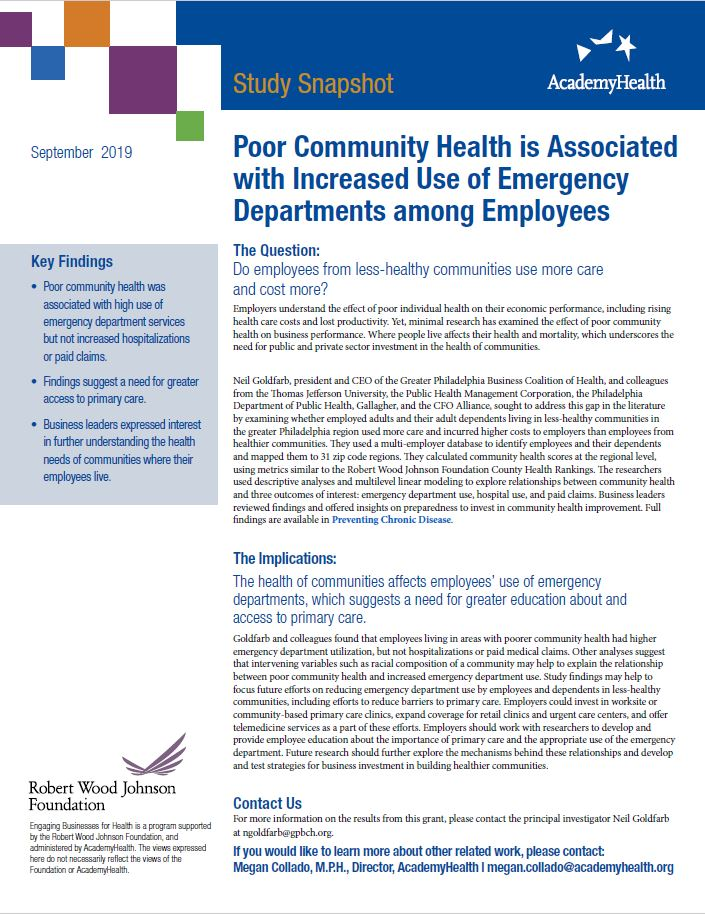 Poor Community Health is Associated with Increased Use of Emergency Departments among Employees