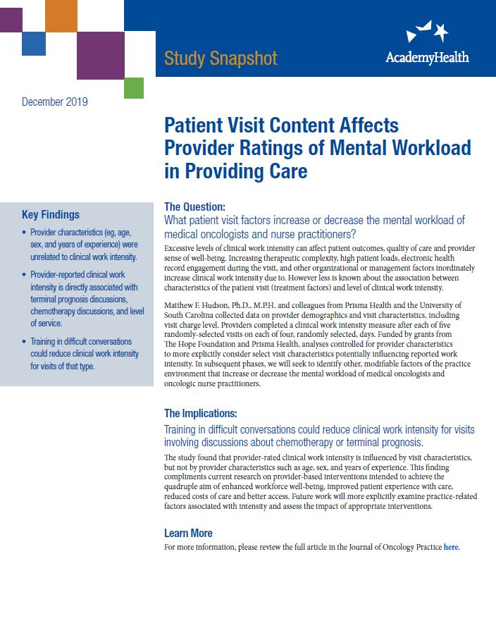 Patient Visit Content Affects Provider Ratings of Mental Workload in Providing Care