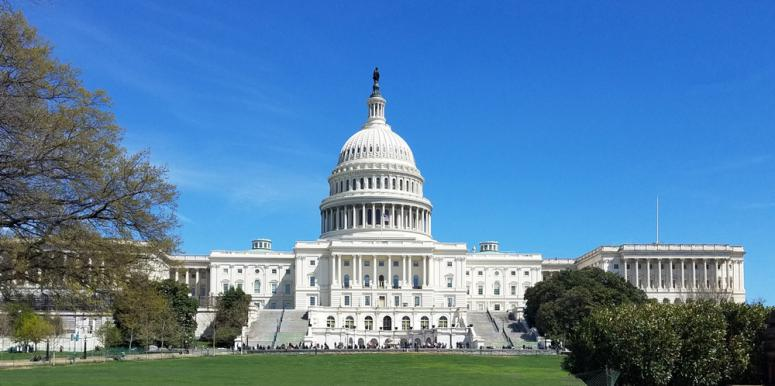 A panoramic view of the United States Capitol Building western facade, on Capitol Hill in Washington DC, USA