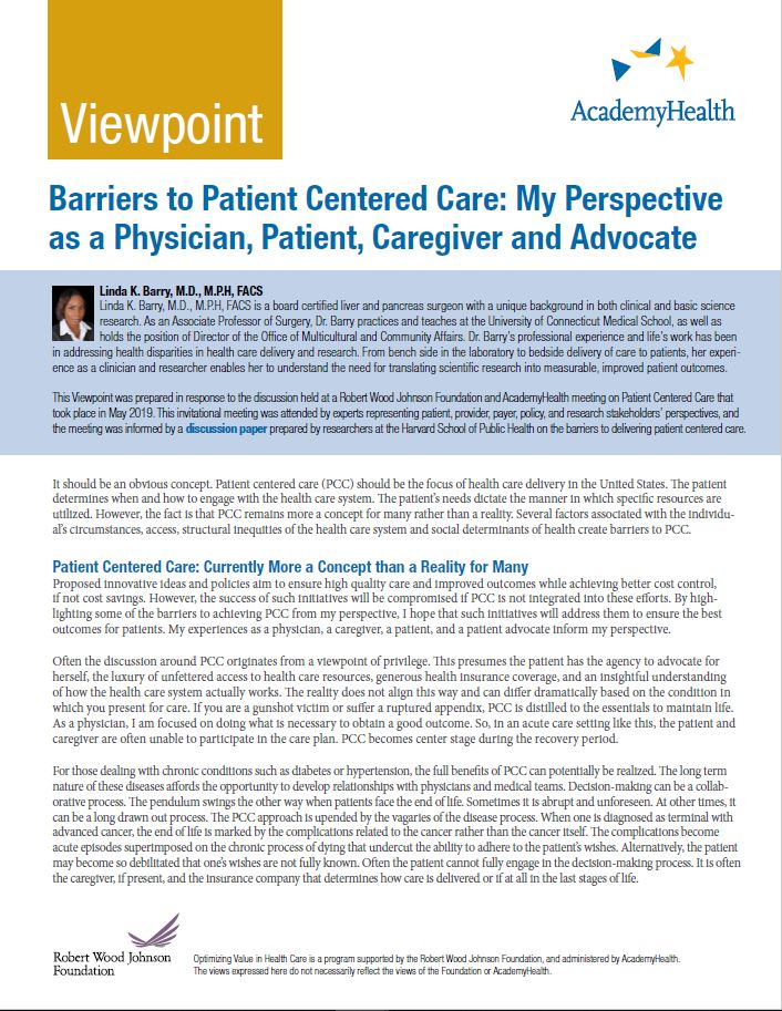 Barriers to Patient Centered Care: My Perspective as a Physician, Patient, Caregiver and Advocate